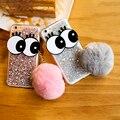Case para iphone 6 6 s 6 plus 6 s mais cobertura de luxo em pó paillette glitter bola de pêlo de coques casos capa para iphone 6 6 s bonito olhos