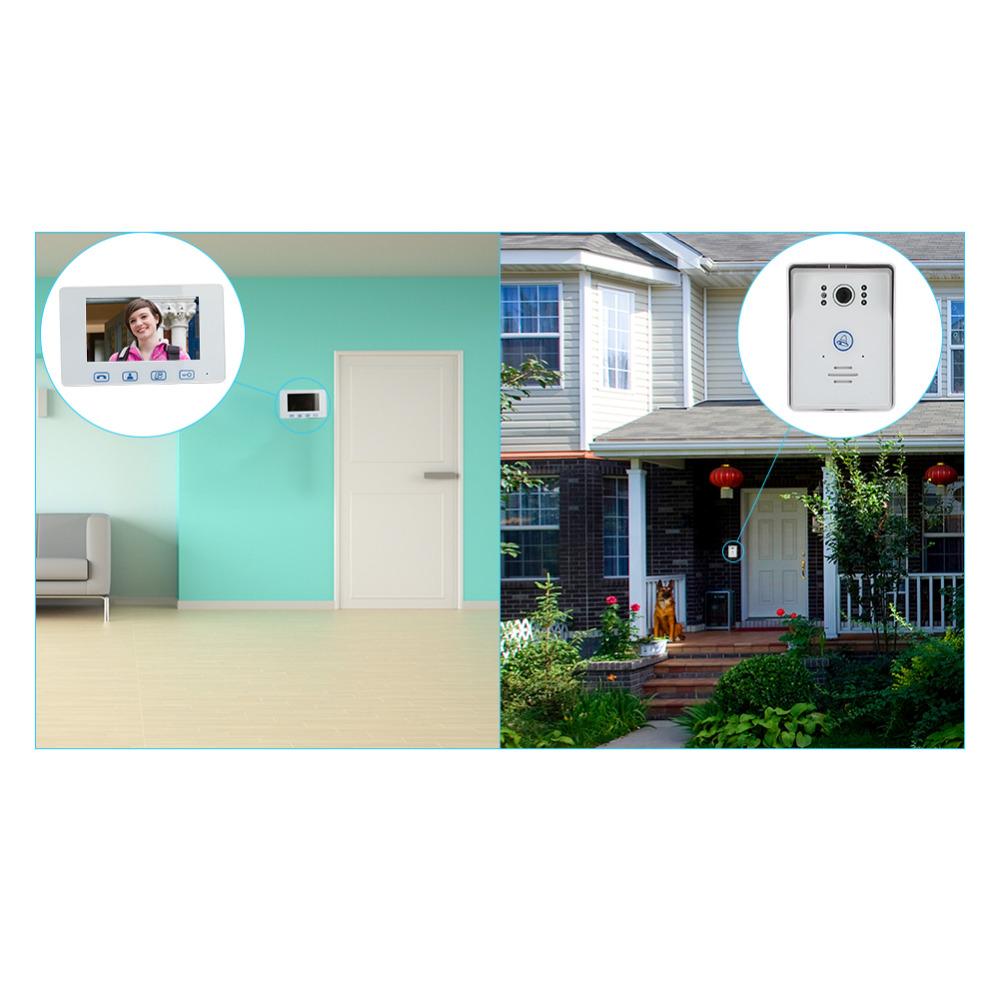 Saful 7``color TFT LCD wired video door phone door intercom Night Vision Waterproof Camera Monitor Doorbell Intercom Smart home (3)