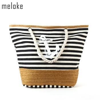 Meloke 2019 Beach Bag Canvas Straw Beach Bag Stripe Printed Canvas Handbag Rope Handle Strap Shoulder Bag  Big Tote MN531