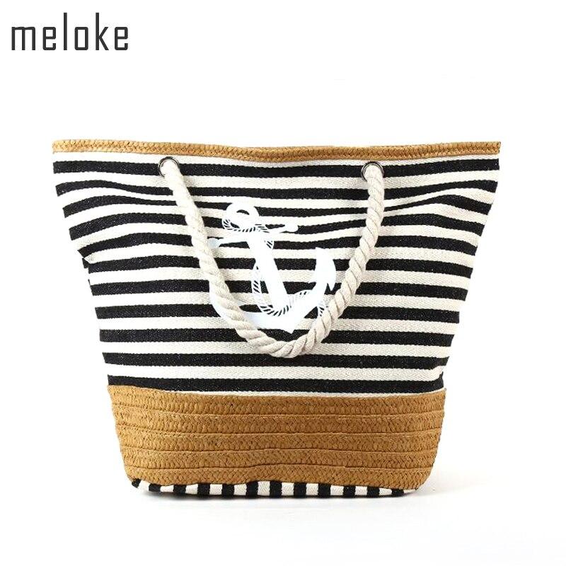 Meloke 2018 Beach Bag Canvas Straw Beach Bag Stripe Printed Canvas Handbag Rope Handle Strap Shoulder Bag Big Tote MN531