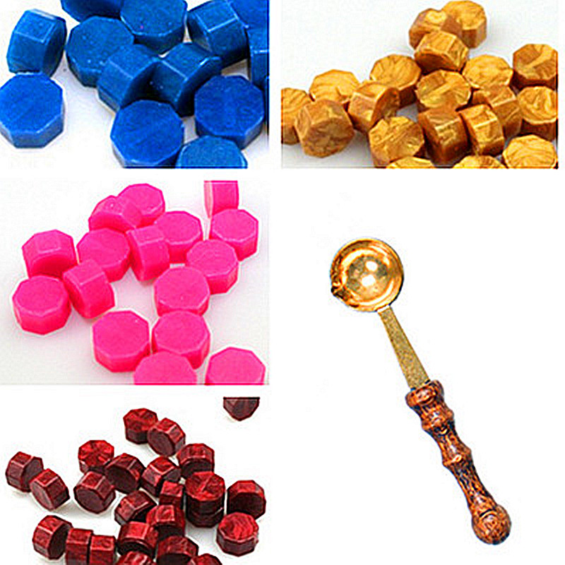 30pcs Octagon Sealing Wax Set Brass Spoon Seal Stamp Beaded Waxes For Wedding Post Vintage Craft Decor Card Making Tools