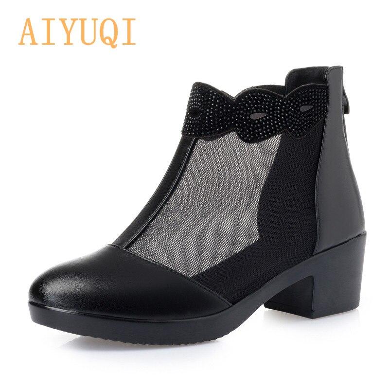 7334b125c3d5d0 ChaussuresGrande Haute Black 2019 Maille D'été Véritable Nouveau 41 42 Cuir  Aiyuqi Printemps De Sandales Respirant black Femmes Taille 9IWHDE2