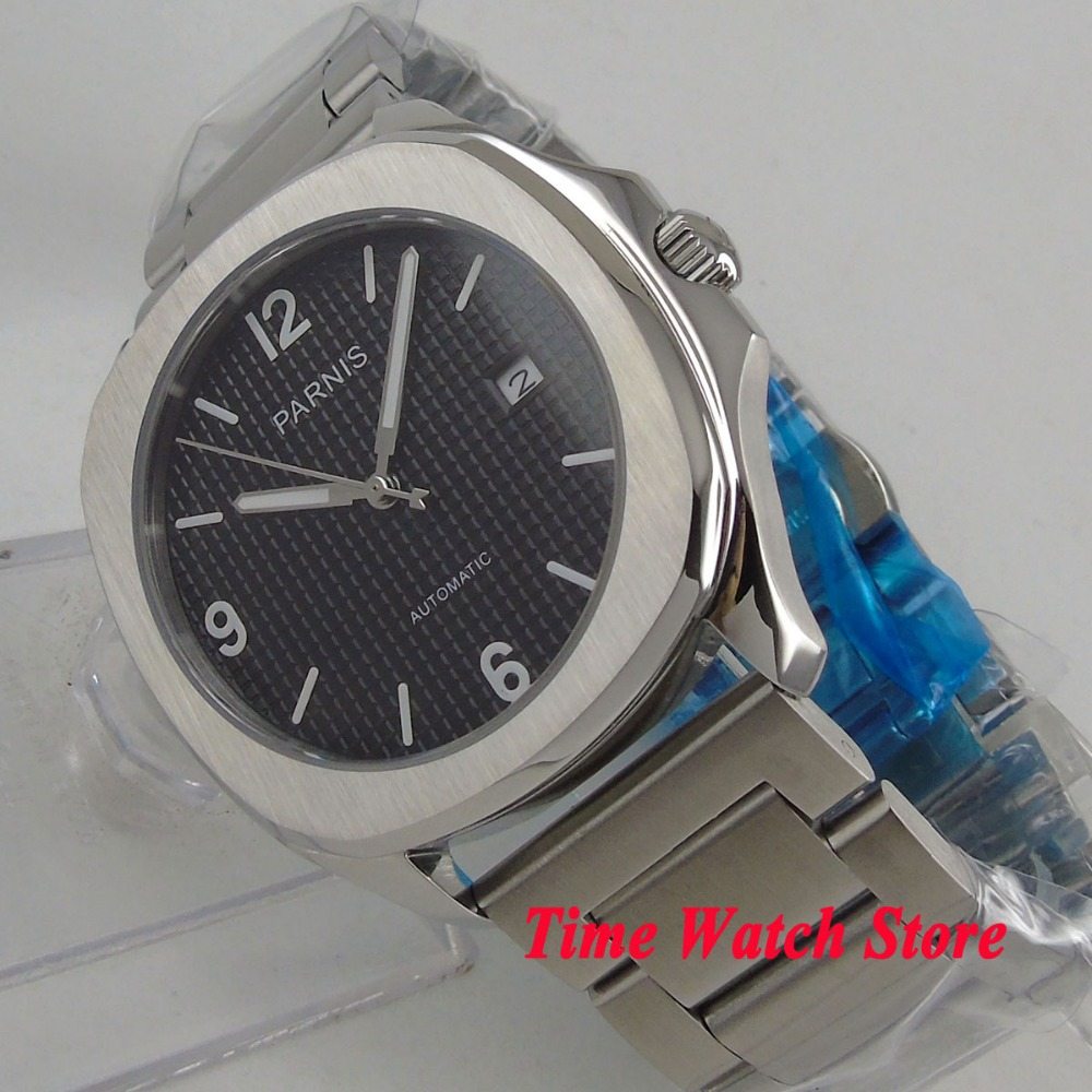 Parnis watch 40mm square case sapphire glass black dial luminous bracelet MIYOTA 821A Automatic movement Men's watch men 1049