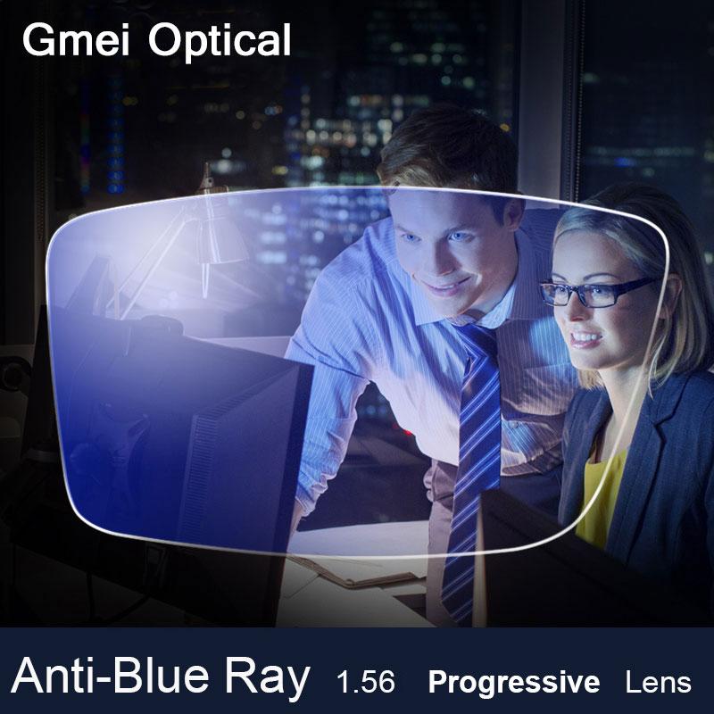 Anti-lentille de rayon bleu 1.56 forme libre verres de lentille optique de Prescription Progressive au-delà de la lentille de dresseur bleu UV pour la Protection des yeux