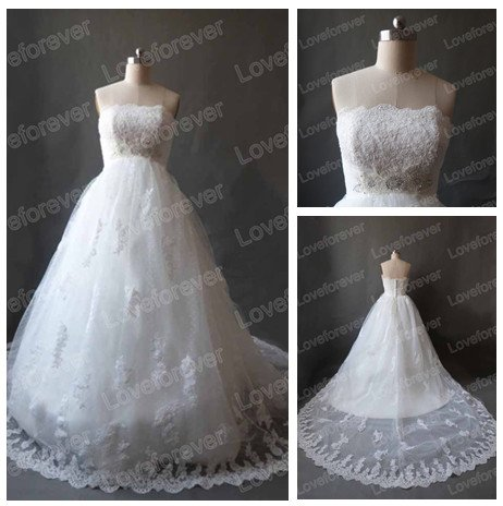 Lovely design empire ivory tulle lace wedding dresses for for Wedding dress to hide pregnancy