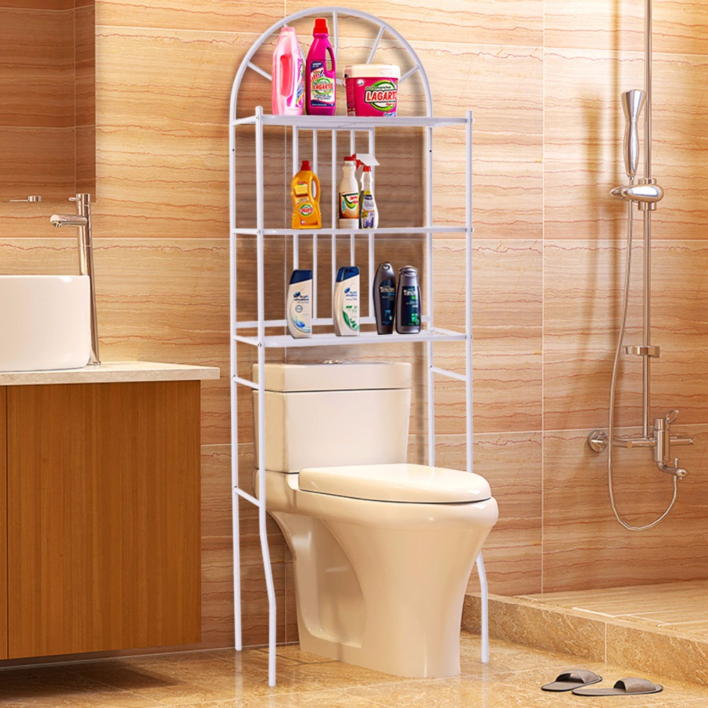 Goplus 3 Shelf Over The Toilet Bathroom Cabinet Space ...