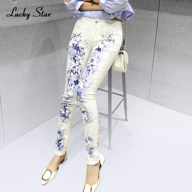 LUCKY STAR White Female Elastic Jeans Europe Printing Slim Denim Trousers Elastic Long Stylish Printed Jeans Plus Size A208 эхолот lucky ffw718li