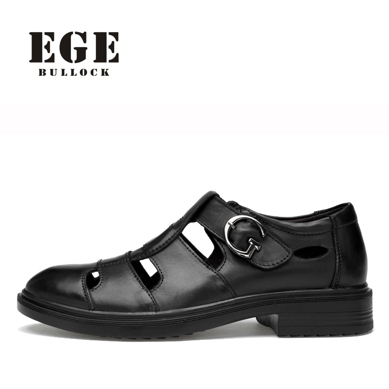 Men Leather Sandals Big Size EGE Brand Genuine Cow Leather Male Casual Shoes Handmade Classic Leisure Black Outdoor Shoes Men