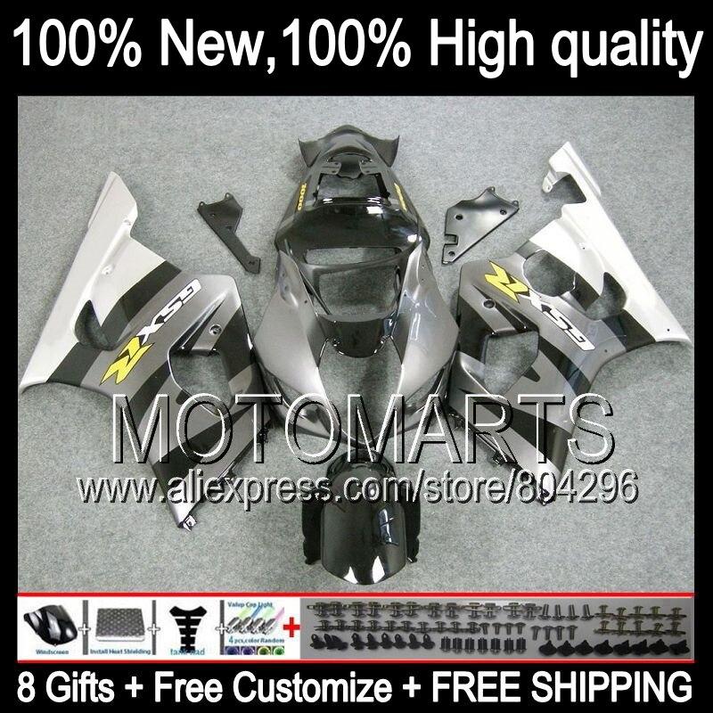 Комбинезоны серебро для Suzuki GSX R1000 03 04 GSX R1000 03 04 8 #7119 GSXR 1000 2003 2004 Серебряный черный GSXR 1000 GSXR1000 K3 обтекатель