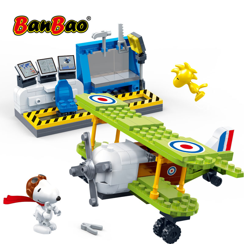 BanBao 7522 Snoopy Amendoim IP Figura Base de Força Aérea Air Plane Modelo de Blocos de Construção DIY Brinquedos Para Crianças Crianças Educacional Tijolos