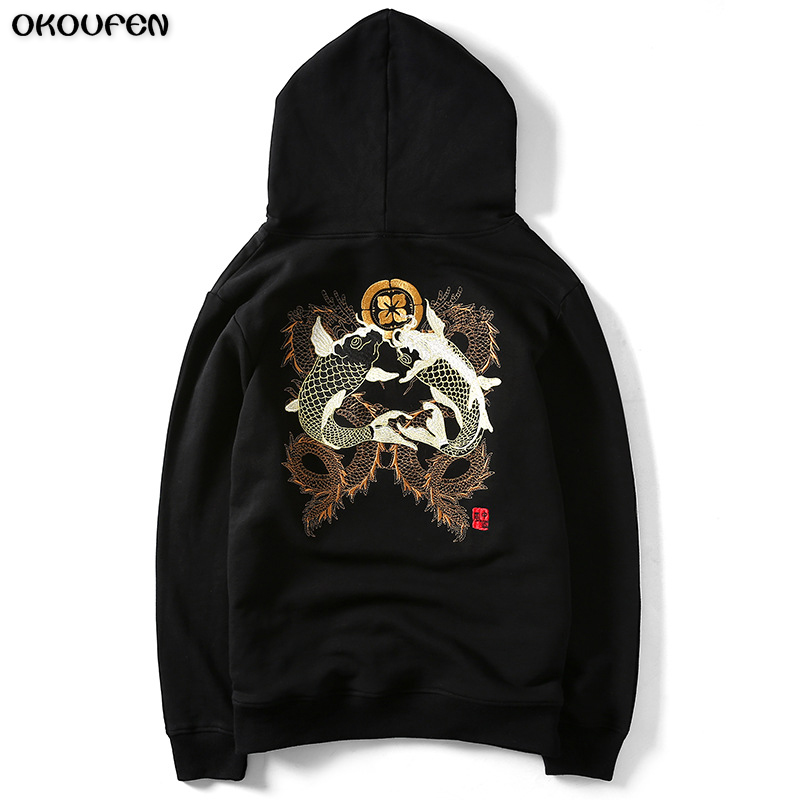 2018 New Fashion Men/Women Hoodies Embroidery Designed Sweatshirts Unisex Fish and Fish Hooded Hoodies Size M-4xl WY37