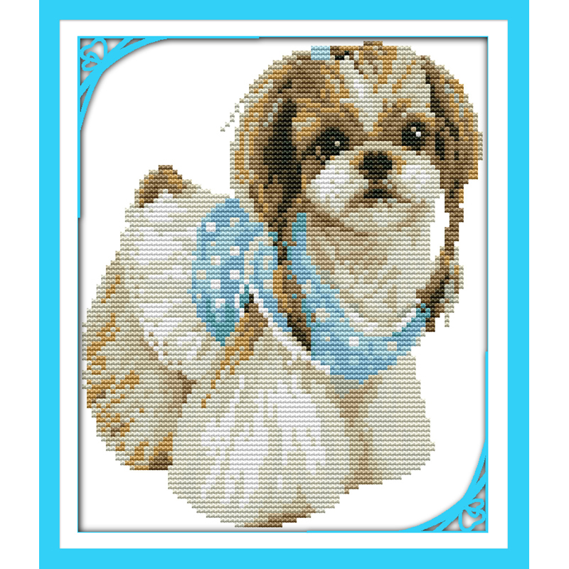 Everlasting Love Lady Dog(2) Chinese Cross Stitch Kits Ecological Cotton Stamped 11 14CT DIY Gift New Year Decorations For Home