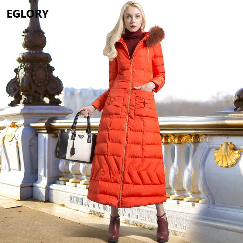 XXXL Winter Long Parka Down Coat Women Hooded Warm Thick Parkas Zipper Front Pocket Patchwork Plus Size Parka Outerwear Orange fashionable thick hooded pleated down coat for women