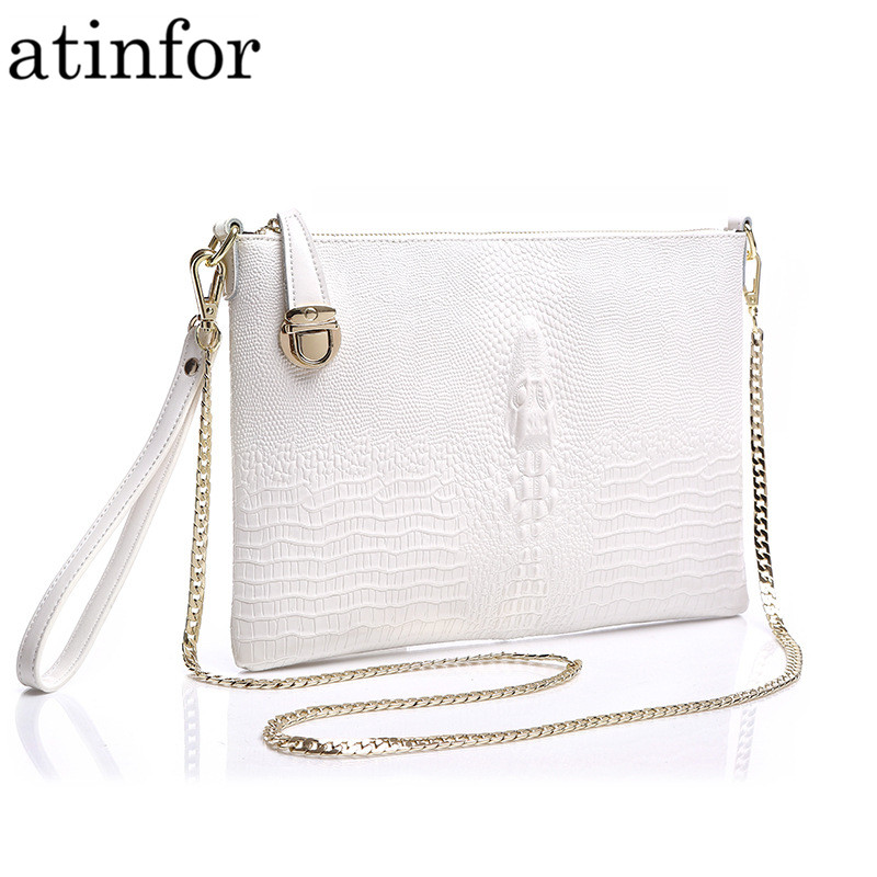 Genuine Leather Women Handbag Fashion Crocodile Printing Evening Bags Lady Classic Cross Body Shoulder Bag