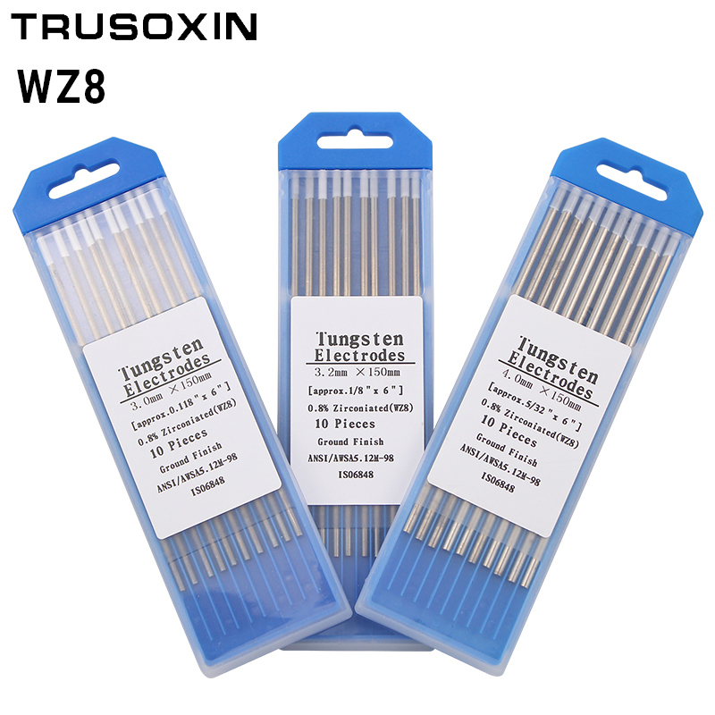 WZ8 Tungsten Electrode Tig Rod 1 0 1 6 2 0 2 4 3 0 3 2 4 0MMx150mm 6 quot White Head 0 8 Zirconiated Tungsten Electrode Welding Rod in Welding Nozzles from Tools