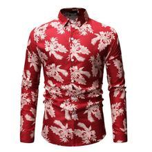 Fashion Blouse Men Casual Hawaiian Shirt Plant flower Mens Long sleeve Black Red Blue New