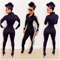 2017 Casual Women One Piece Jumpsuits Long Sleeve Bodycon Front Zipper Hooded Long Pants Sexy One Piece Outfits Black Rompers