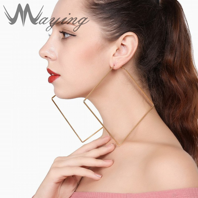 2237f5483 Extra Large Square Hoop Earrings for Women Gold Silver Metal Dangle Stud  Earring Hypoallergenic Flattened Biggest Thin Jewelry