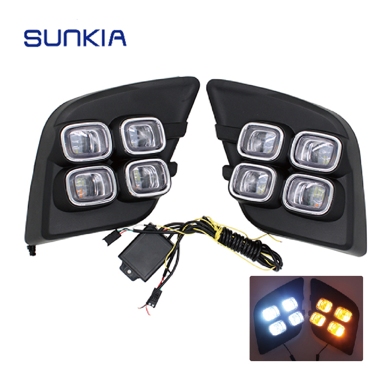 SUNKIA Car Styling LED DRL Daytime Running Lights for Toyota Hilux Revo Vigo 2015 2016 Daylight Fog Lamp Decoration