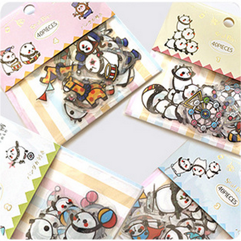 40 pcs/lot Cute cartoon panda circus paper sticker package DIY diary decoration sticker album scrapbooking kawaii stationery cartoon animal sticker toy owl giraffe print kids toy sticker cute diary book scrapbooking calendar album deco sticker 1 sheet