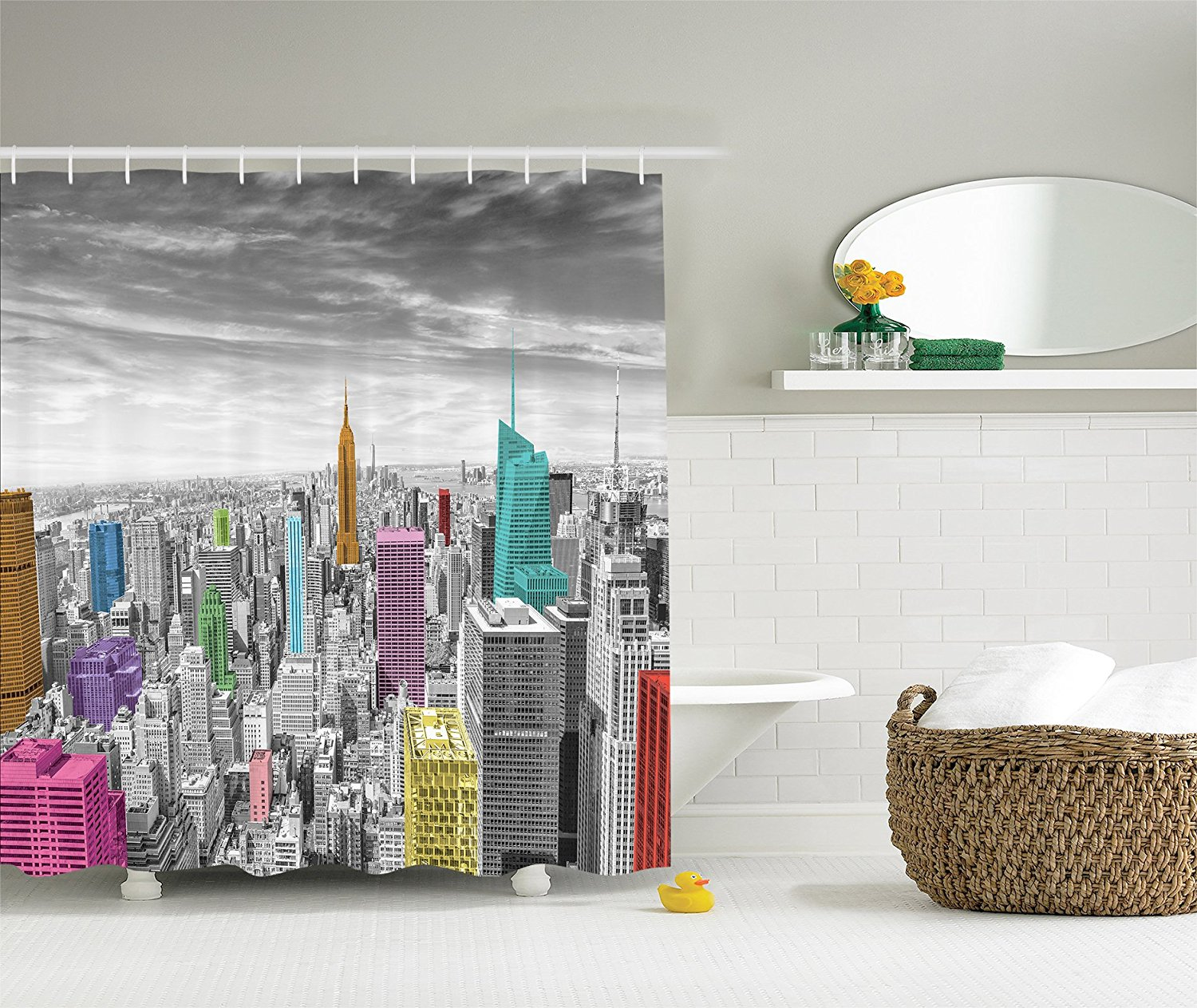 Memory Home Cityscape Shower Curtain Bath Decorations NYC New York City Skyline Panoramic Picture Fabric Bathroom