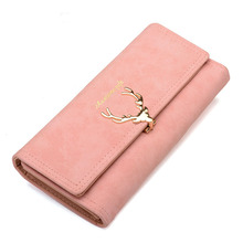 Women Wallet Card Female Purse Leather Trifold Long Coin Holder Phone Metal Christmas Deer Cash Pocket Fashion