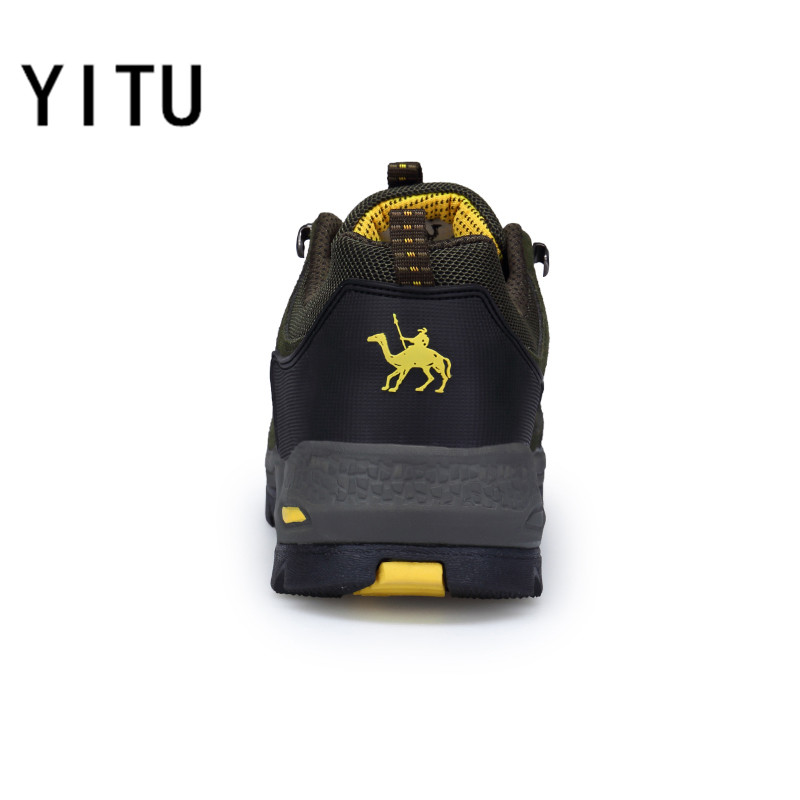 YITU Mens Hiking Shoes Spring Breathable Hiking Camel Shoes Mountain Climbing Sneakers Big Size Outdoor Trekking Boots Antiskid