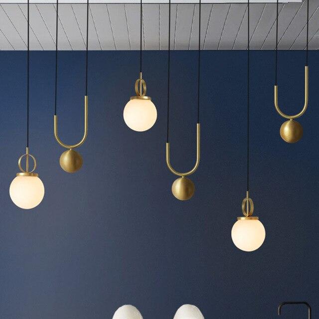 Nordic современный металлический открытый подвесные светильники для обеденная Ресторан Бар спальня Lounge подъема стеклянный шар висит светоди