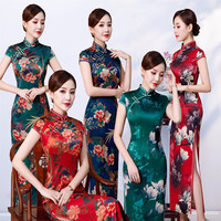 2019 Chinese Wedding Dress Female Cheongsam Slim Chinese Traditional Dress Women Long Qipao for Wedding Party Dress Plus Size