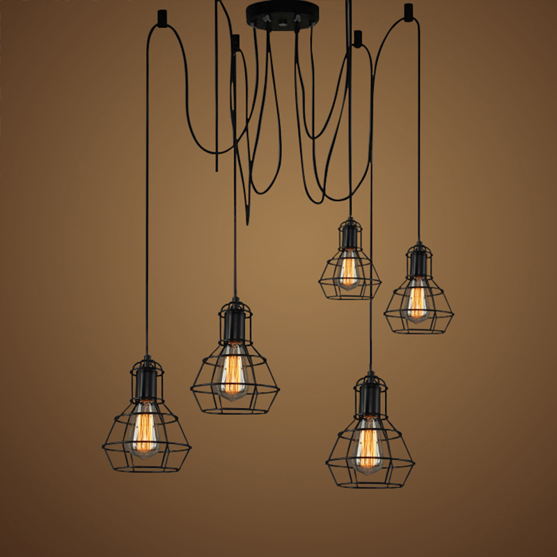 vintage industrial pendant lamp loft style lights kitchen dining room lampara Mordern Nordic retro light Spider edison lamps nordic american edison bulb loft industrial glass stone point ceiling lamp vintage pendant lights cafe bar dining room light