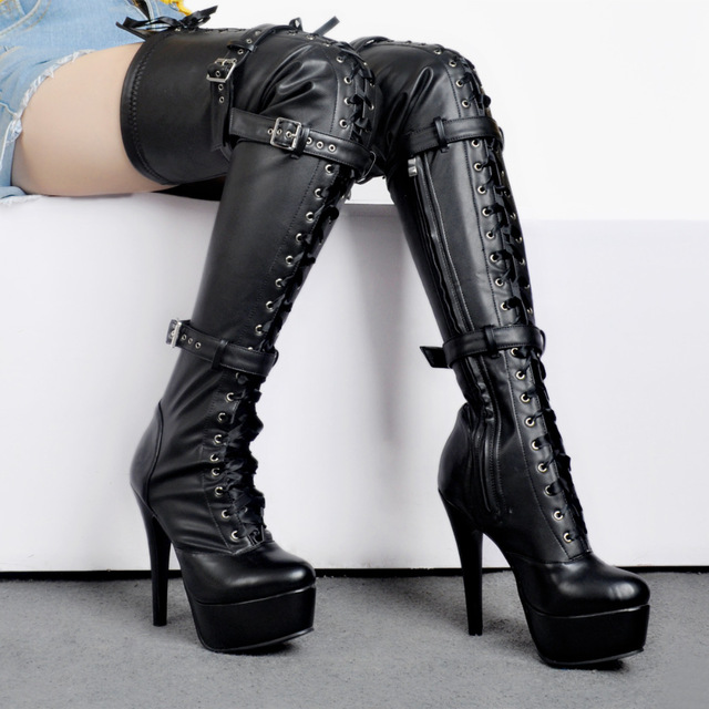 2e5daeb410cc7e Sapato Feminino Sexy Buckle Belt Over The Knee Boots Platform Shoes Thigh  High Heel Black Leather