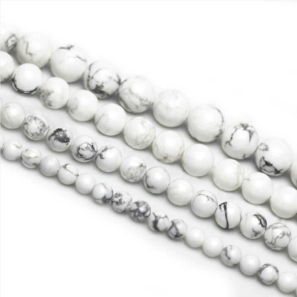 """10mm Round Natural White Howlite Turquoise Gemstone Beads 15/"""" Strand"""