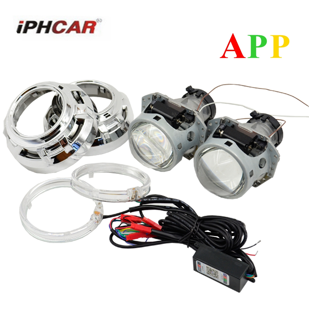 3.0 inch hella 5 car Bi xenon hid Projector lens with RGB app Bluetooth function angel eyes car assembly kit