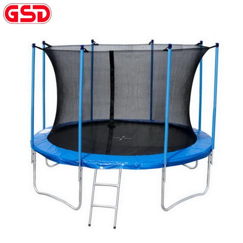 GSD Hochwertiges Federtrampolin mit 12 Fuß / 3,66 m Durchmesser und sicherer Netzleiter-Sprungmatte TÜV-GS CE wurde genehmigt