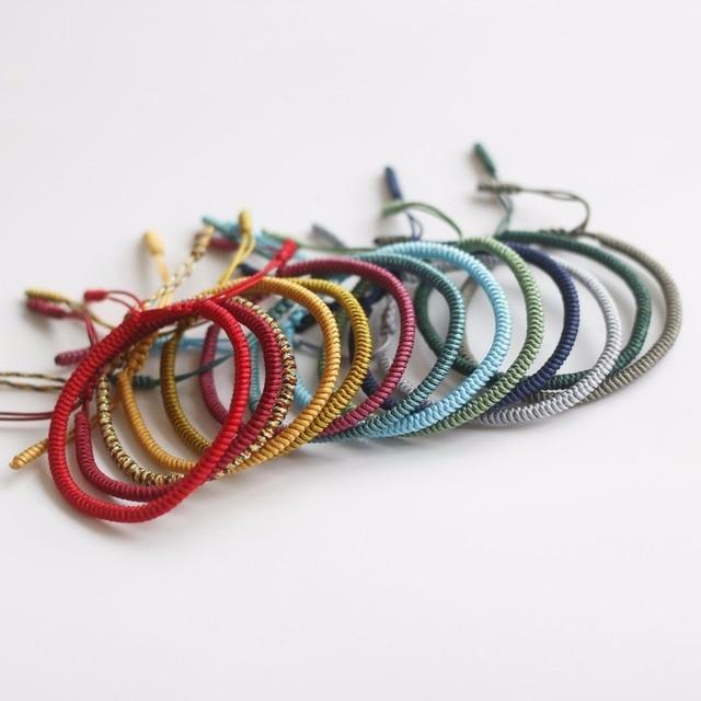 4ac763876d064 2018 New Tibetan Buddhist Handmade Knots Lucky Rope Bracelet Unisex 2017  Buddhism Jewelry Size Adjustable Dropshiping