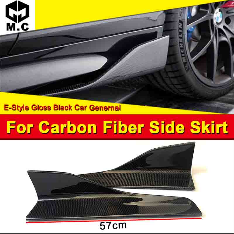 F83 M4 style 2-DR Convertible Side Skirt True Carbon fiber Gloss Black 57cm E Body Kit Skirts Splitter 1-pair