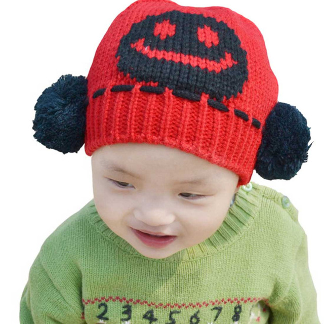 Unisex Baby Boys Girls Smile face Knit Crochet Beanie Pom Pom Hat Cap Ear Flap Earmuff Warm Red 1-5 Years