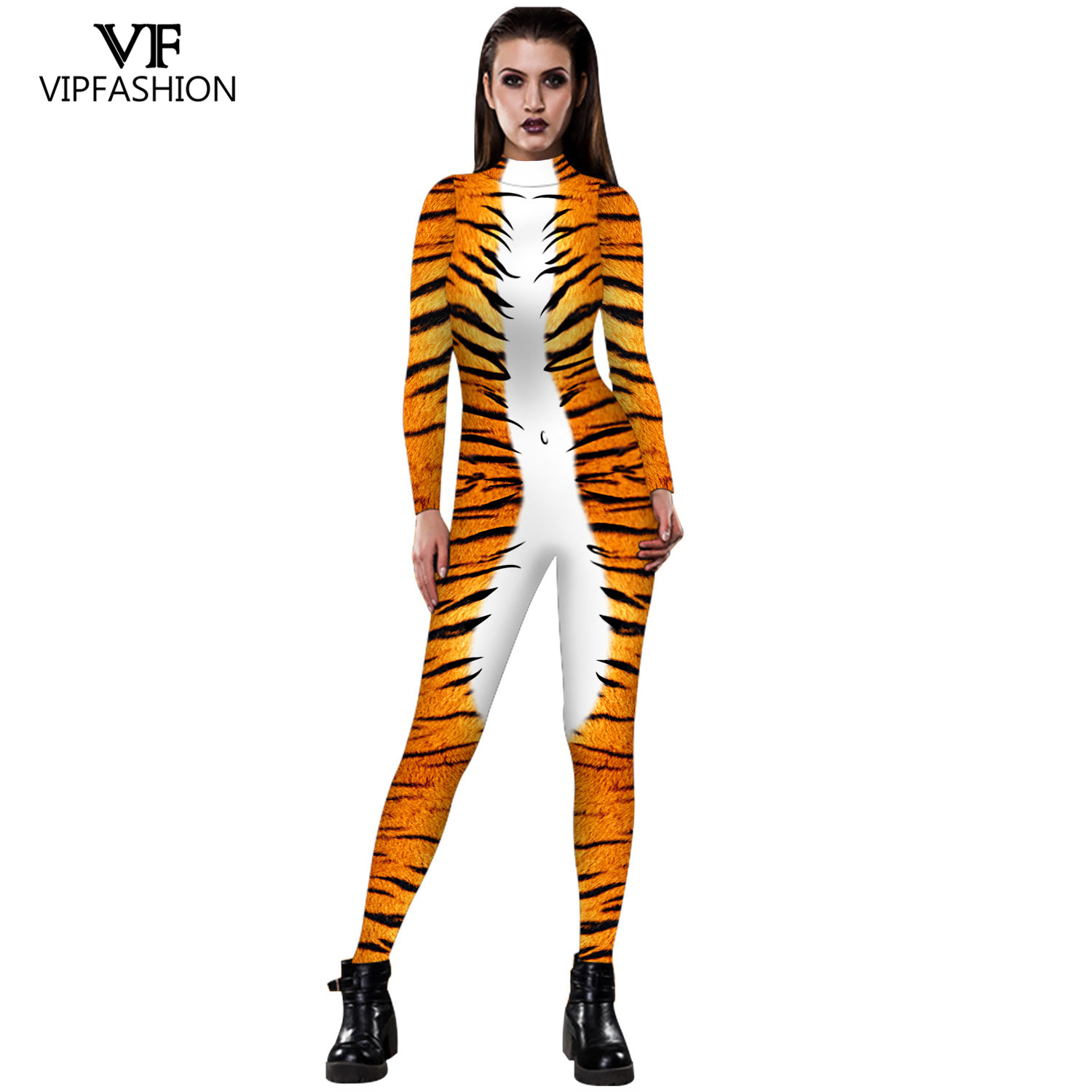 VIP FASHION Halloween Cosplay Costumes Leopard 3D Printing Animal Zentai Snake Bodysuit Suit Jumpsuits