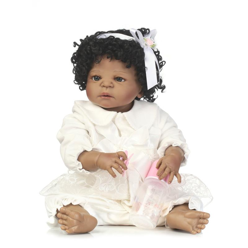 """22"""" Full Body Silicone African American Baby Girl Doll Black Doll Bebe Reborn Curly Hair Children Bath Doll Toys Bonecas Reborn"""