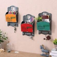 Organizer Mailbox Letter-Box Wood Key-Hooks Flower-Pot Wall-Hanging-Box Home-Furnishing-Decoration