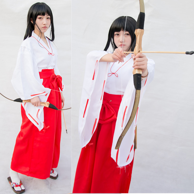 Inuyasha Anime Inuyasha Kikyo Kimono Full Set Cosplay Costume Halloween Costume Top & Skirt & Clogs & Socks