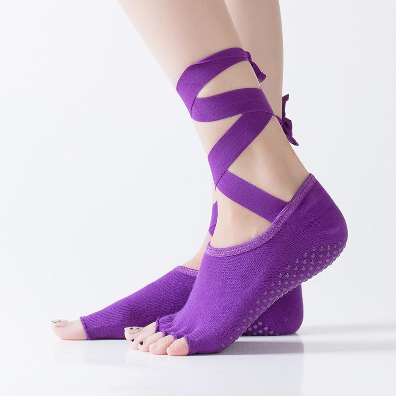 @1  8 цветов Женщины Хлопчатобумажные Балетные Йога Носки Половинчатый Носок Тренажерный Зал Танцующие Н ★