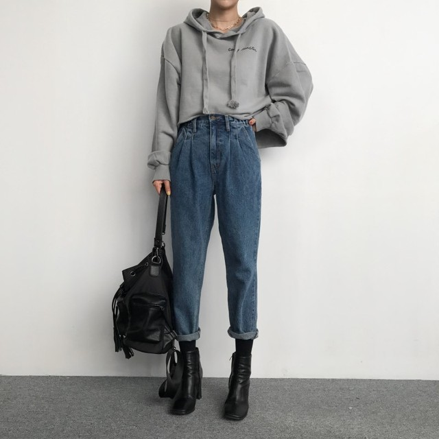 Cropped wide leg denim pants femme high waist 2018 autumn winter boyfriend  jeans for women 66c29e53c7