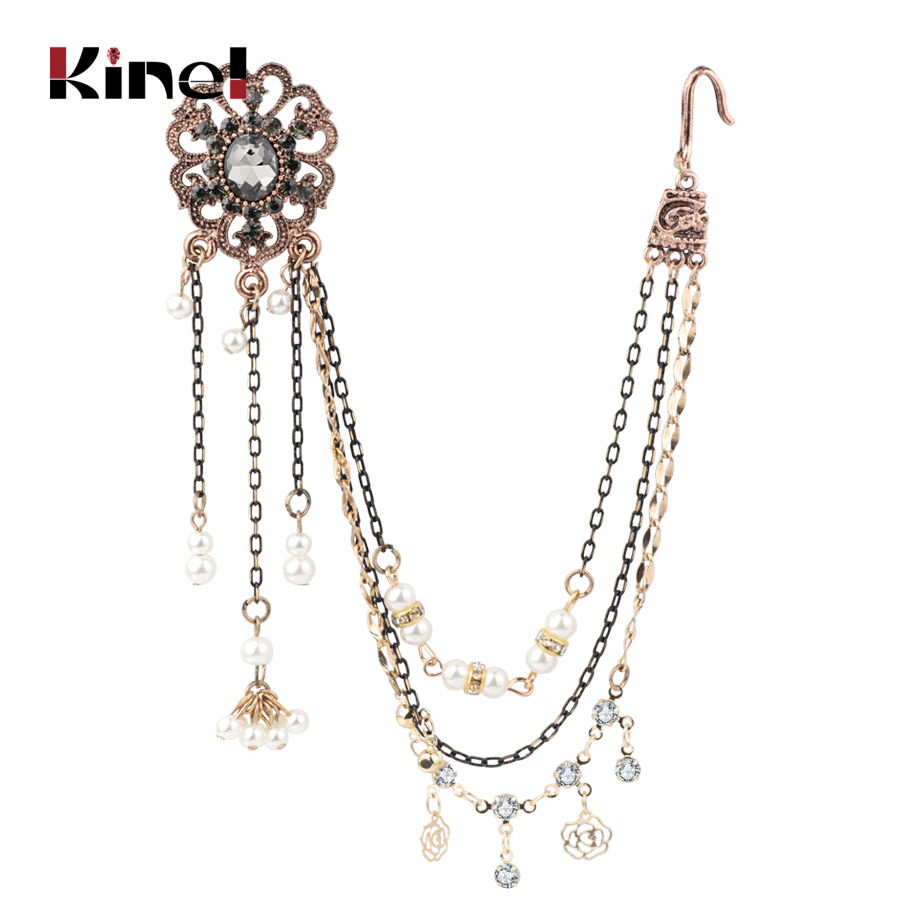 Kinel Ethnic Grey Crystal Flower Earring link Headdress India Jewelry Antique Gold Tassel Earrings For Women Vintage