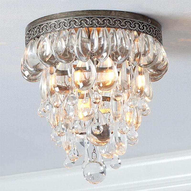 Amerikanischen Luxus Kristall Kreative Deckenleuchte Einfache Moderne Retro Wohnzimmer Balkon Schlafzimmer BeleuchtungChina