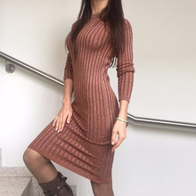 Women Sweater Dress Long Sexy Lurex Bodycon Dresses Elastic Skinny Twinkle Slim Knitted Dress ladies dresses Work Wear Vestidos(China)