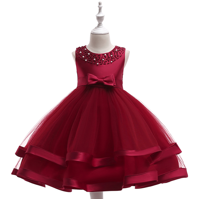 Wholesale Children Girl Princess Ball Gown Dresses With Bow Kids Girl beaded Wedding Dress For Birthday