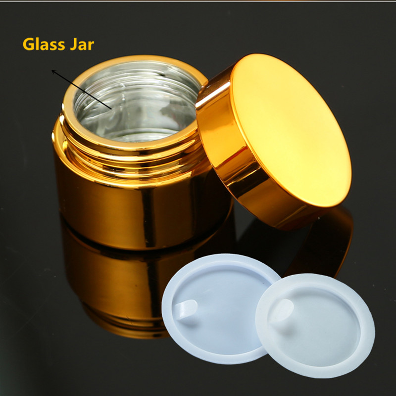 6ps High Quality, 5g 10g 30g 50g Empty UV Plating Golden Silver Glass Cosmetic Container,Refillable Cosmetic Pot Jar With Lid