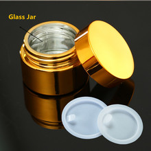 6ps High Quality, 5g 10g30g 50g Empty UV Plating Golden Silver Glass Cosmetic Container,Refillable Package With Lid