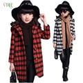Новый осень зима девочки-подростки верхняя одежда плед шерстяной пиджак пальто для девочки пальто дети детей и пиджаки топы одежда для девочек